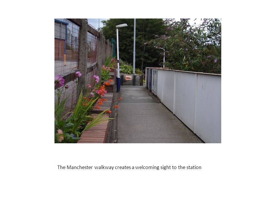 The Manchester walkway creates a welcoming sight to the station
