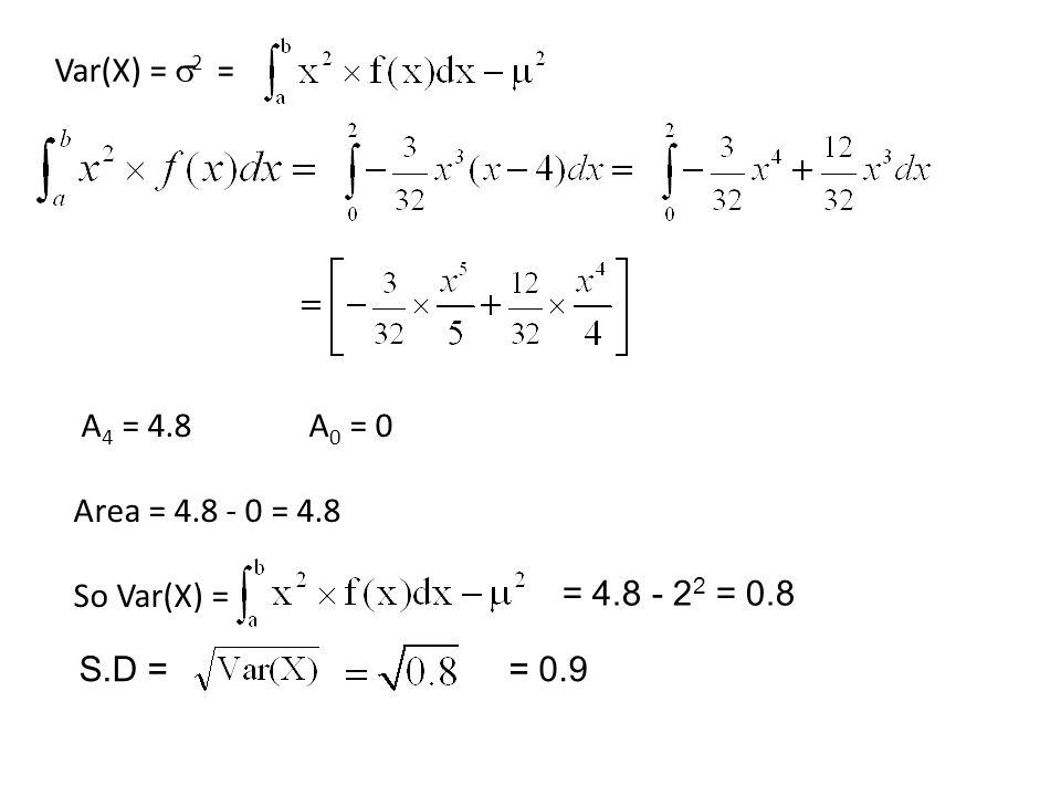 A 4 = 4.8 A 0 = 0 Area = 4.8 - 0 = 4.8 So Var(X) = S.D == 0.9 = 4.8 - 2 2 = 0.8 Var(X) =  2 =