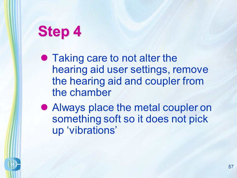56 Step 3 If you don't have a multicurve testbox take note of the hearing aid output at the curve peak – – as we are using a multicurve testbox today we do not need to worry about this step
