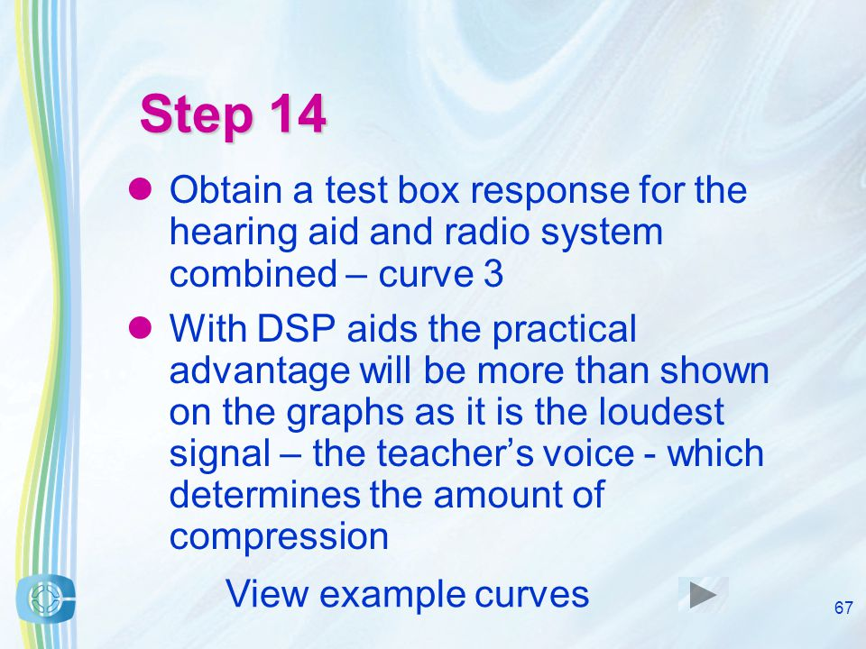 66 Step 13 Set an 80dB SPL test box signal