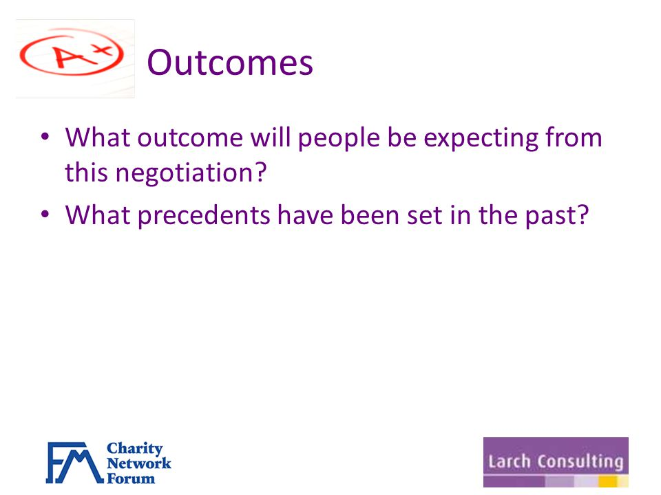 Outcomes What outcome will people be expecting from this negotiation.