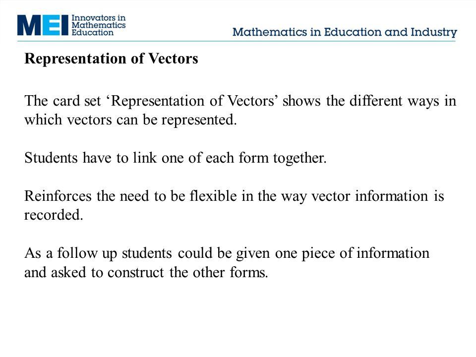 Representation of Vectors The card set 'Representation of Vectors' shows the different ways in which vectors can be represented.