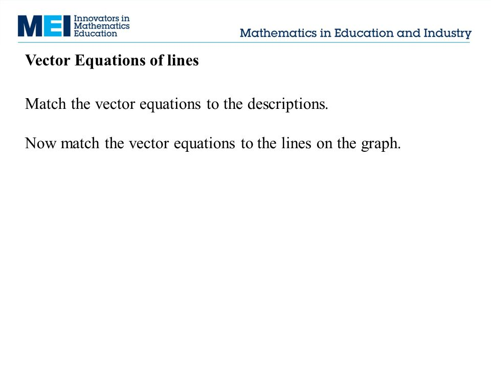Vector Equations of lines Match the vector equations to the descriptions. Now match the vector equations to the lines on the graph.