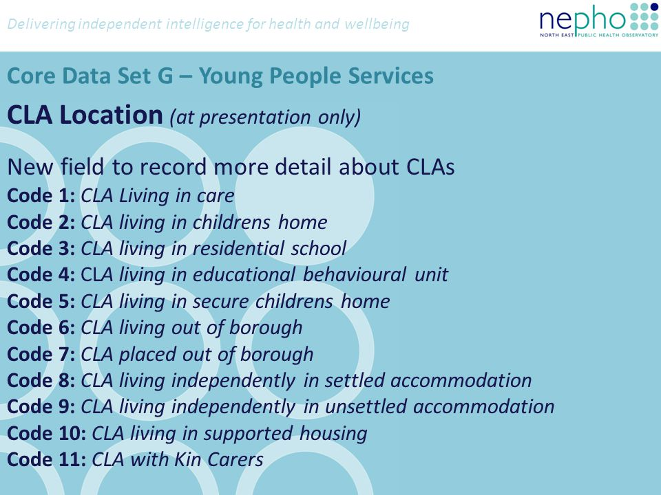 Delivering independent intelligence for health and wellbeing Children Living With (at presentation only) Existing Options Code 0: No children living with the client Code 1: 1 Child living with client Code 2: 2 Children living with client.......