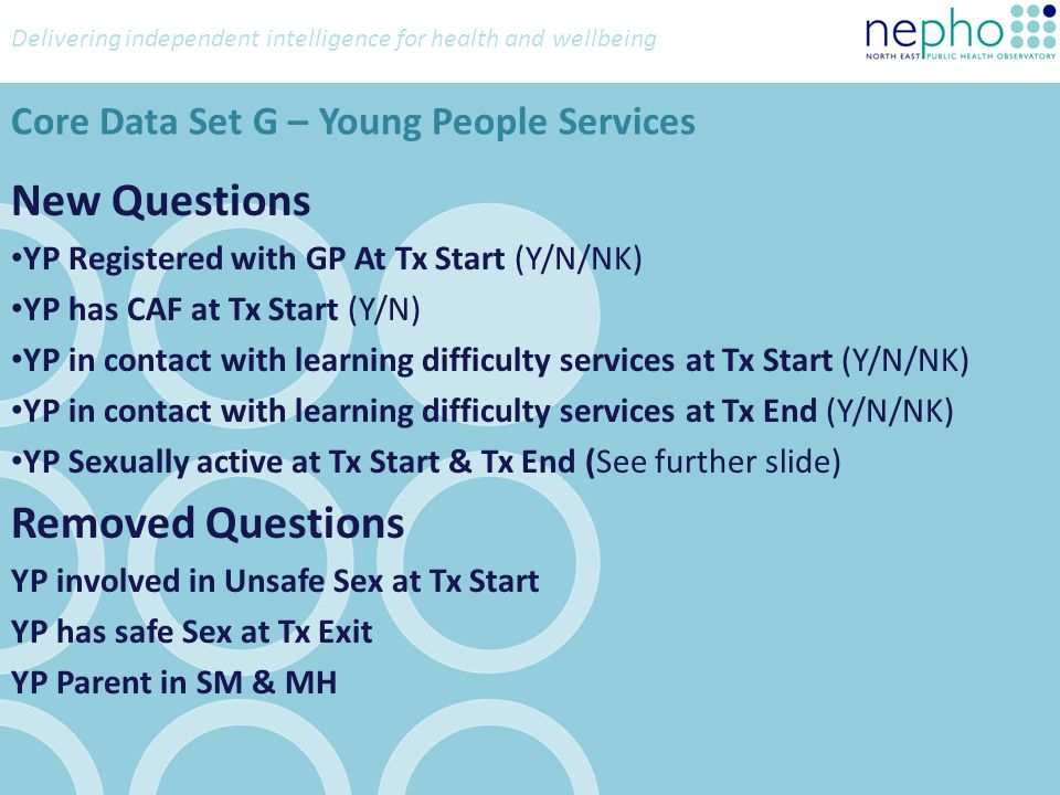 Delivering independent intelligence for health and wellbeing New Questions YP Registered with GP At Tx Start (Y/N/NK) YP has CAF at Tx Start (Y/N) YP in contact with learning difficulty services at Tx Start (Y/N/NK) YP in contact with learning difficulty services at Tx End (Y/N/NK) YP Sexually active at Tx Start & Tx End (See further slide) Removed Questions YP involved in Unsafe Sex at Tx Start YP has safe Sex at Tx Exit YP Parent in SM & MH Core Data Set G – Young People Services