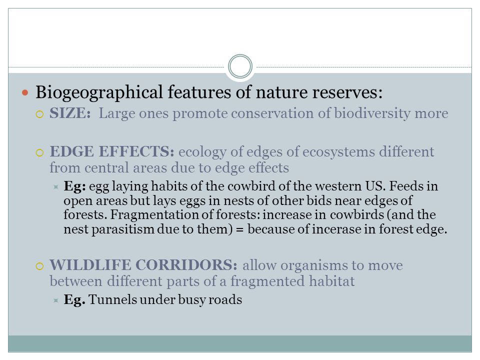 Biogeographical features of nature reserves:  SIZE: Large ones promote conservation of biodiversity more  EDGE EFFECTS: ecology of edges of ecosystems different from central areas due to edge effects  Eg: egg laying habits of the cowbird of the western US.