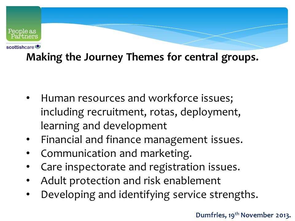 Making the Journey Themes for central groups.