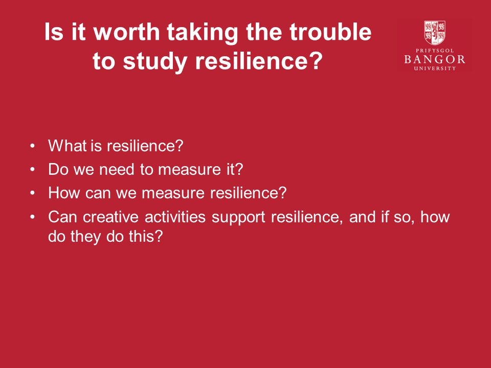 Is it worth taking the trouble to study resilience.