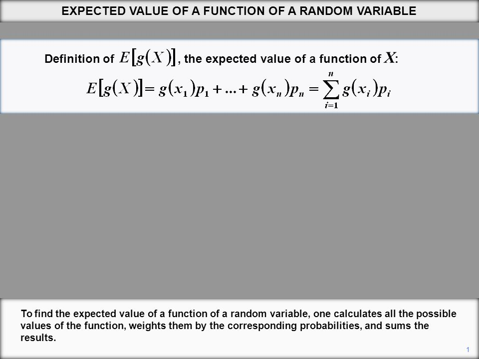 Definition of, the expected value of a function of X : 1 EXPECTED VALUE OF A FUNCTION OF A RANDOM VARIABLE To find the expected value of a function of a random variable, one calculates all the possible values of the function, weights them by the corresponding probabilities, and sums the results.