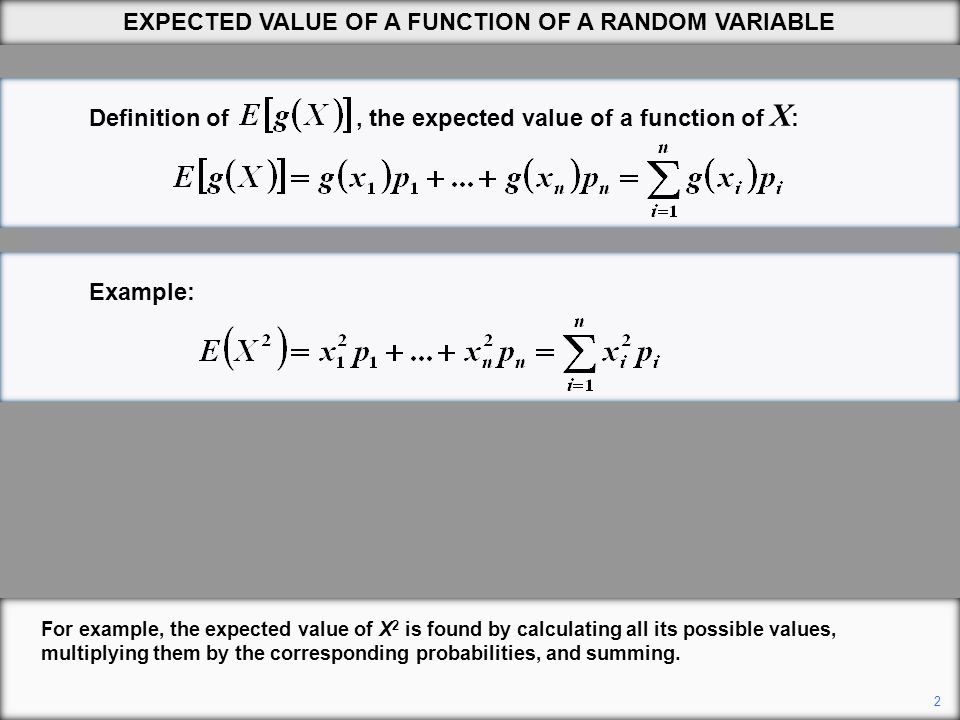 Definition of, the expected value of a function of X : Example: For example, the expected value of X 2 is found by calculating all its possible values, multiplying them by the corresponding probabilities, and summing.