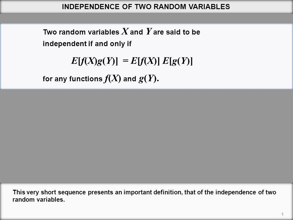 1 This very short sequence presents an important definition, that of the independence of two random variables.