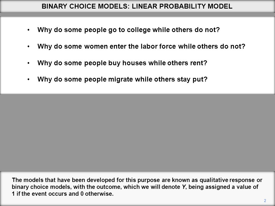 2 The models that have been developed for this purpose are known as qualitative response or binary choice models, with the outcome, which we will denote Y, being assigned a value of 1 if the event occurs and 0 otherwise.