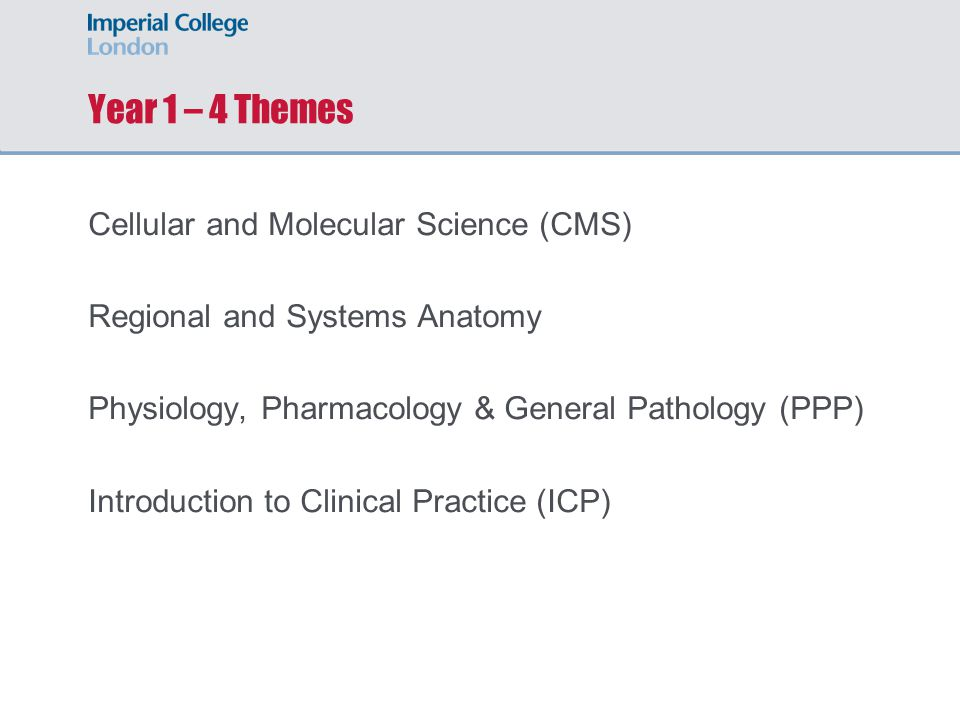 Year 1 – 4 Themes Cellular and Molecular Science (CMS) Regional and Systems Anatomy Physiology, Pharmacology & General Pathology (PPP) Introduction to Clinical Practice (ICP)