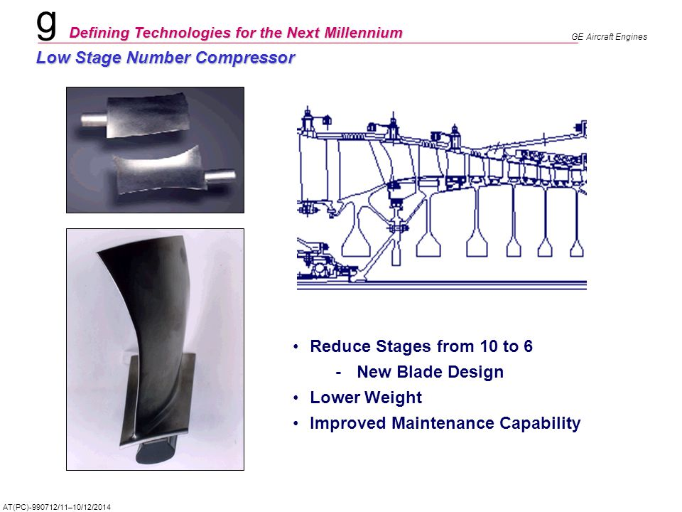 g Defining Technologies for the Next Millennium GE Aircraft Engines AT(PC)-990712/11–10/12/2014 Low Stage Number Compressor Reduce Stages from 10 to 6