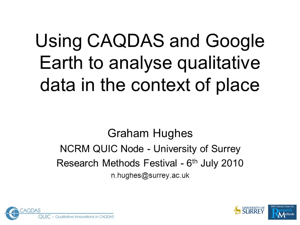 Using CAQDAS and Google Earth to analyse qualitative data in the context of place Graham Hughes NCRM QUIC Node - University of Surrey Research Methods