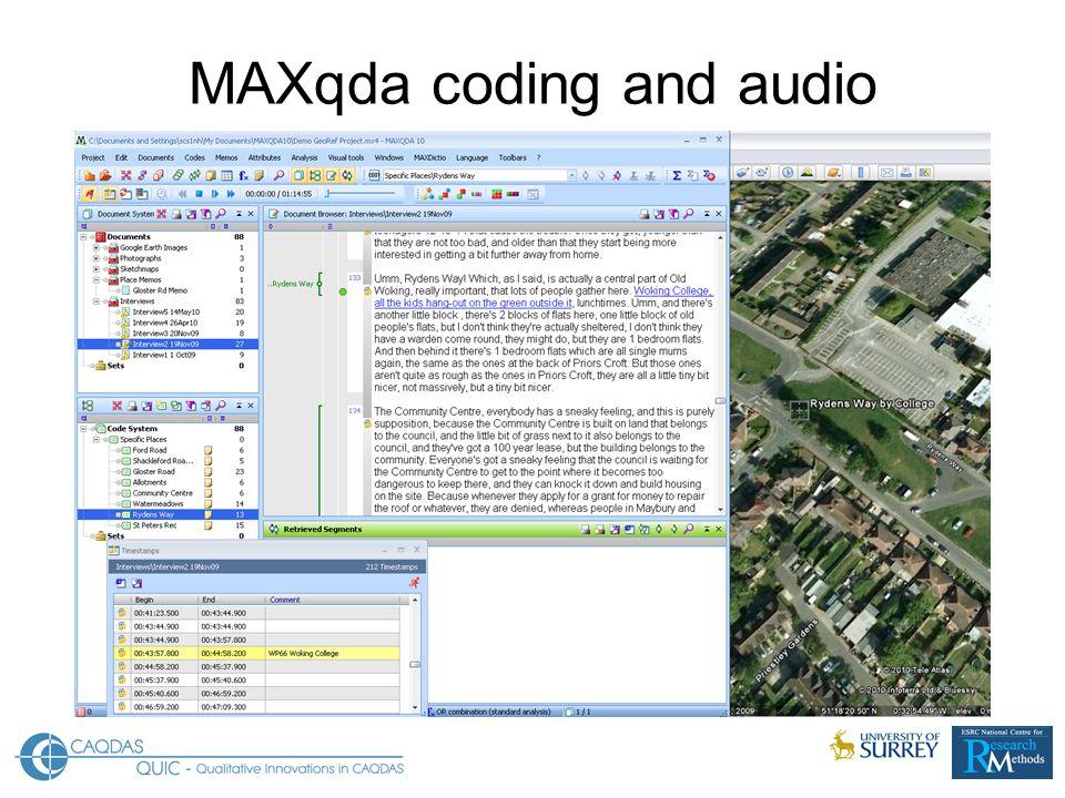 MAXqda coding and audio