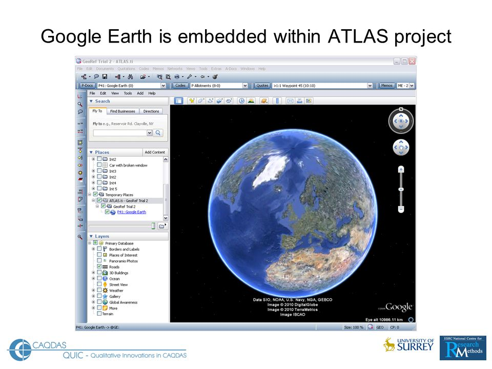 Google Earth is embedded within ATLAS project