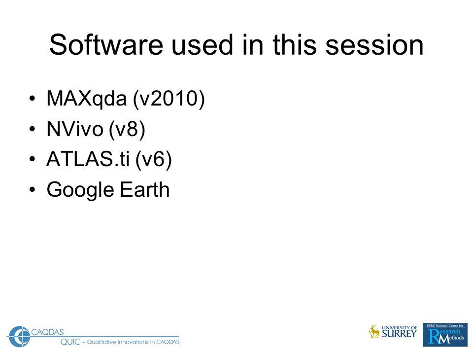 Software used in this session MAXqda (v2010) NVivo (v8) ATLAS.ti (v6) Google Earth