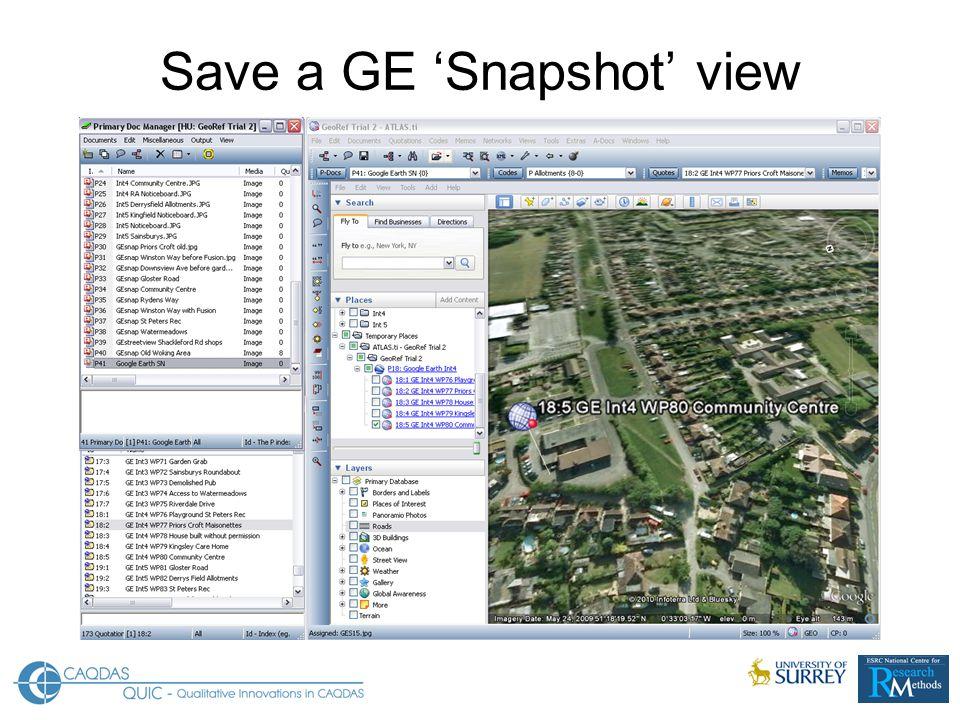 Save a GE 'Snapshot' view