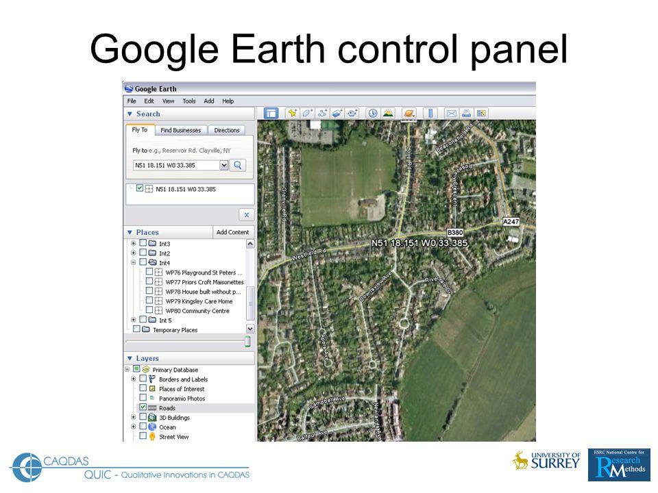Google Earth control panel