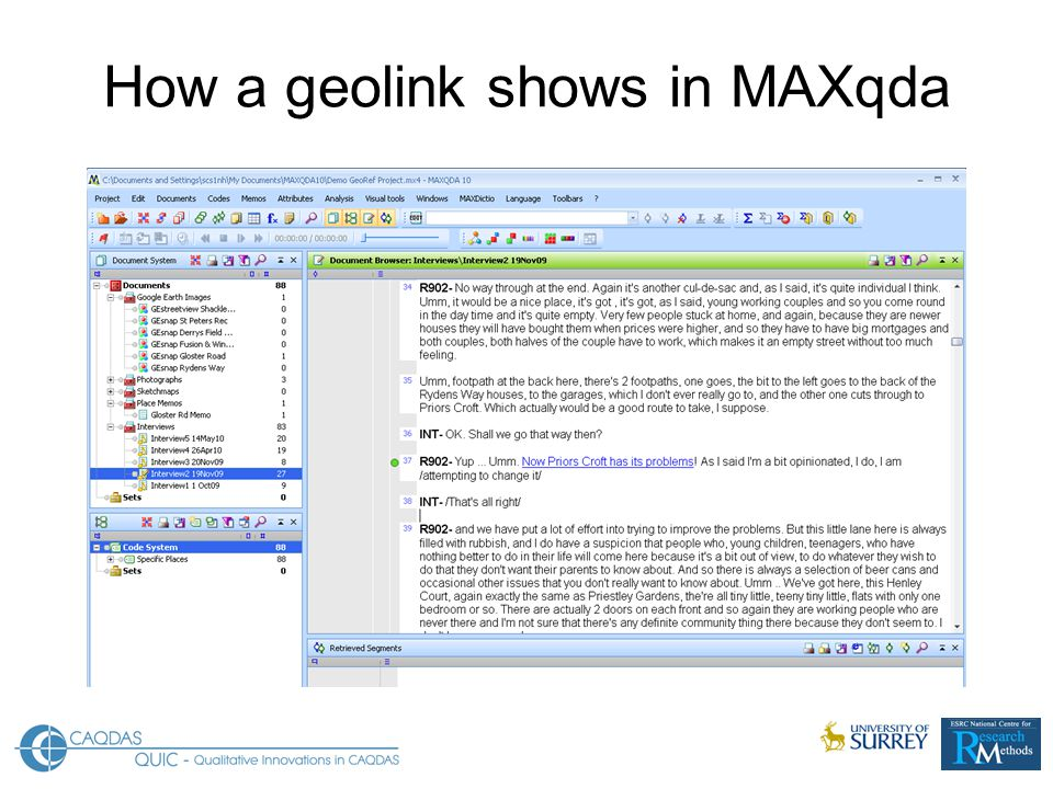How a geolink shows in MAXqda