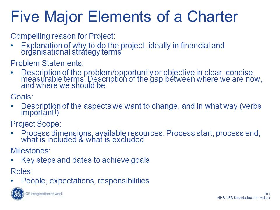 10 / NHS NES Knowledge Into Action Five Major Elements of a Charter Compelling reason for Project: Explanation of why to do the project, ideally in financial and organisational strategy terms Problem Statements: Description of the problem/opportunity or objective in clear, concise, measurable terms.