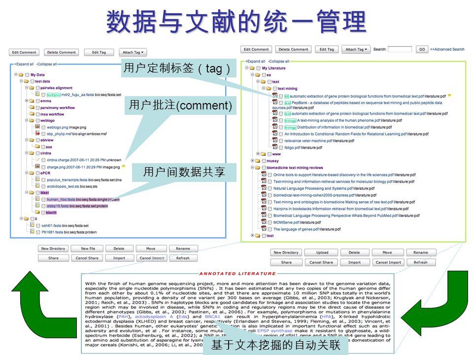 数据与文献的统一管理 用户定制标签( tag ) 用户批注 (comment) 用户间数据共享 基于文本挖掘的自动关联