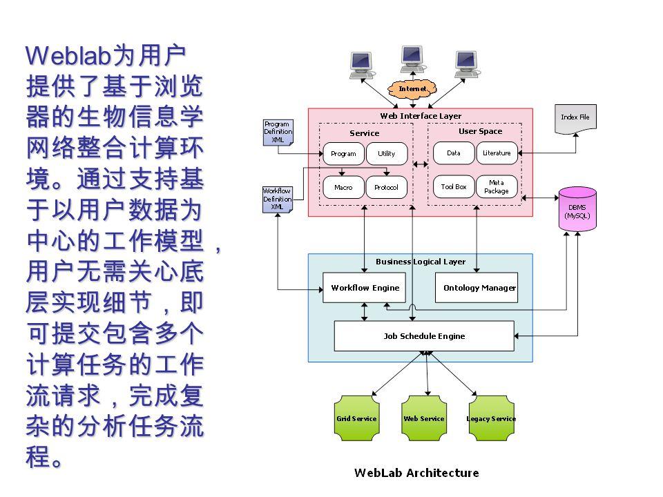 Weblab 为用户 提供了基于浏览 器的生物信息学 网络整合计算环 境。通过支持基 于以用户数据为 中心的工作模型, 用户无需关心底 层实现细节,即 可提交包含多个 计算任务的工作 流请求,完成复 杂的分析任务流 程。