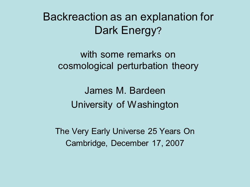 Backreaction as an explanation for Dark Energy .