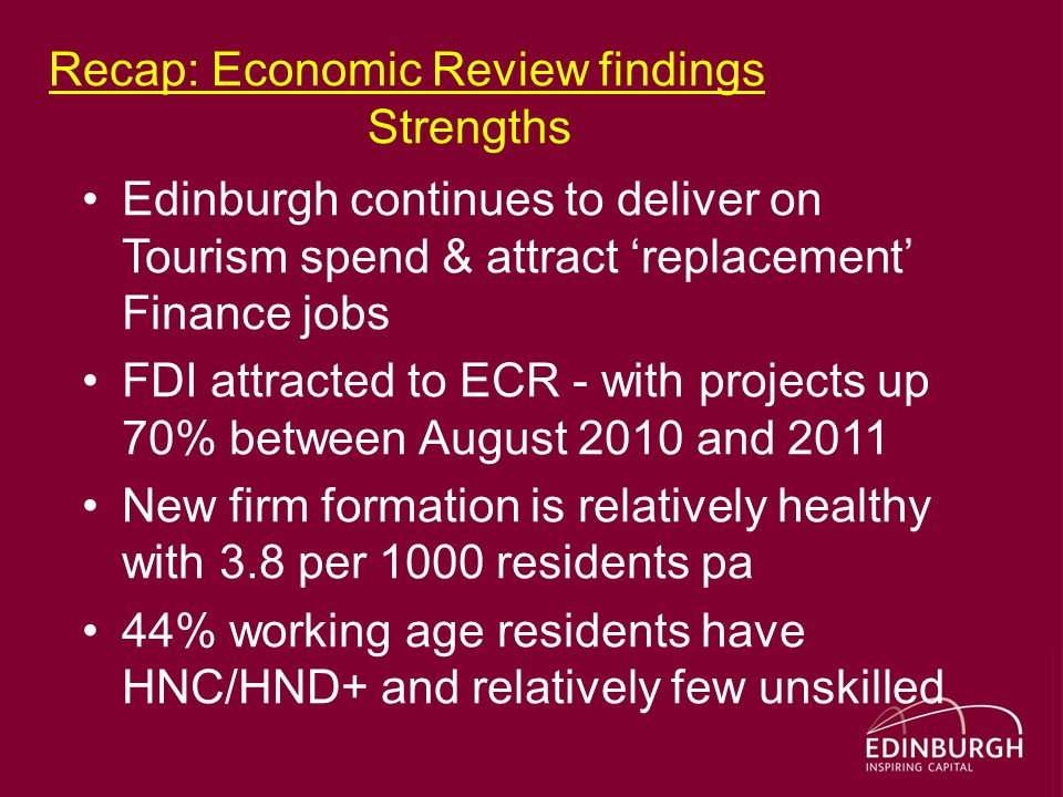 Recap: Economic Review findings Strengths Edinburgh continues to deliver on Tourism spend & attract 'replacement' Finance jobs FDI attracted to ECR - with projects up 70% between August 2010 and 2011 New firm formation is relatively healthy with 3.8 per 1000 residents pa 44% working age residents have HNC/HND+ and relatively few unskilled