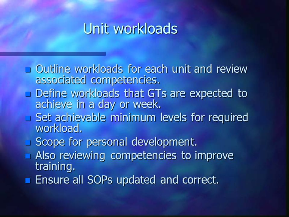 Unit workloads n Outline workloads for each unit and review associated competencies.