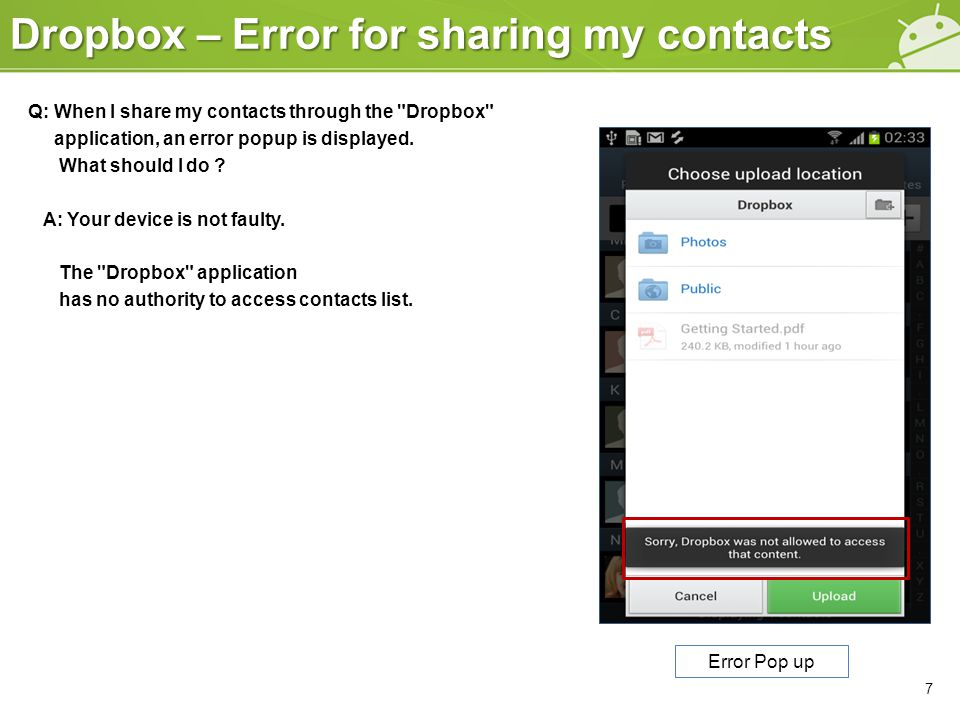 Dropbox – Error for sharing my contacts Q: When I share my contacts through the