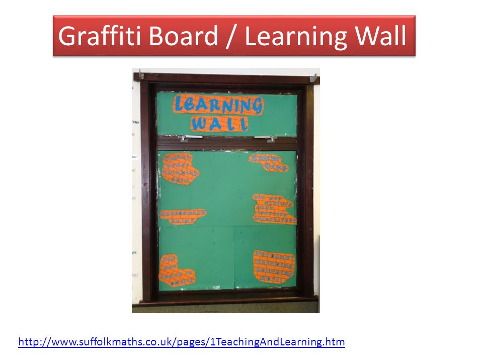 Graffiti Board / Learning Wall http://www.suffolkmaths.co.uk/pages/1TeachingAndLearning.htm