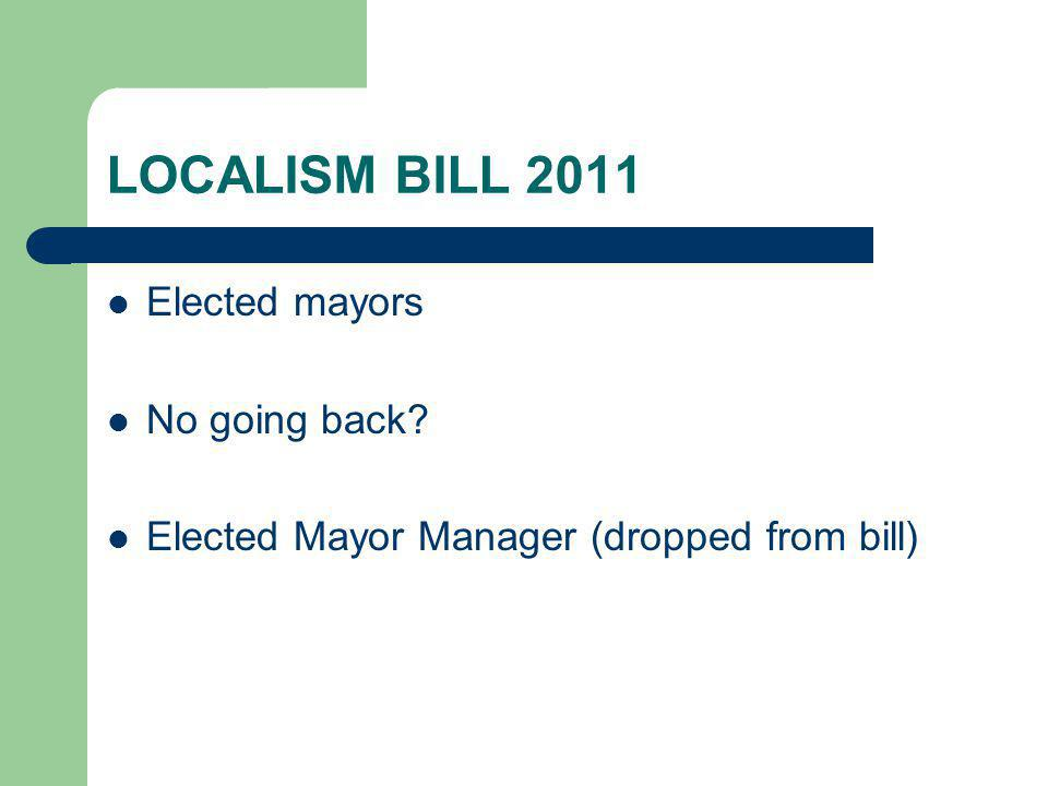 LOCALISM BILL 2011 Elected mayors No going back Elected Mayor Manager (dropped from bill)