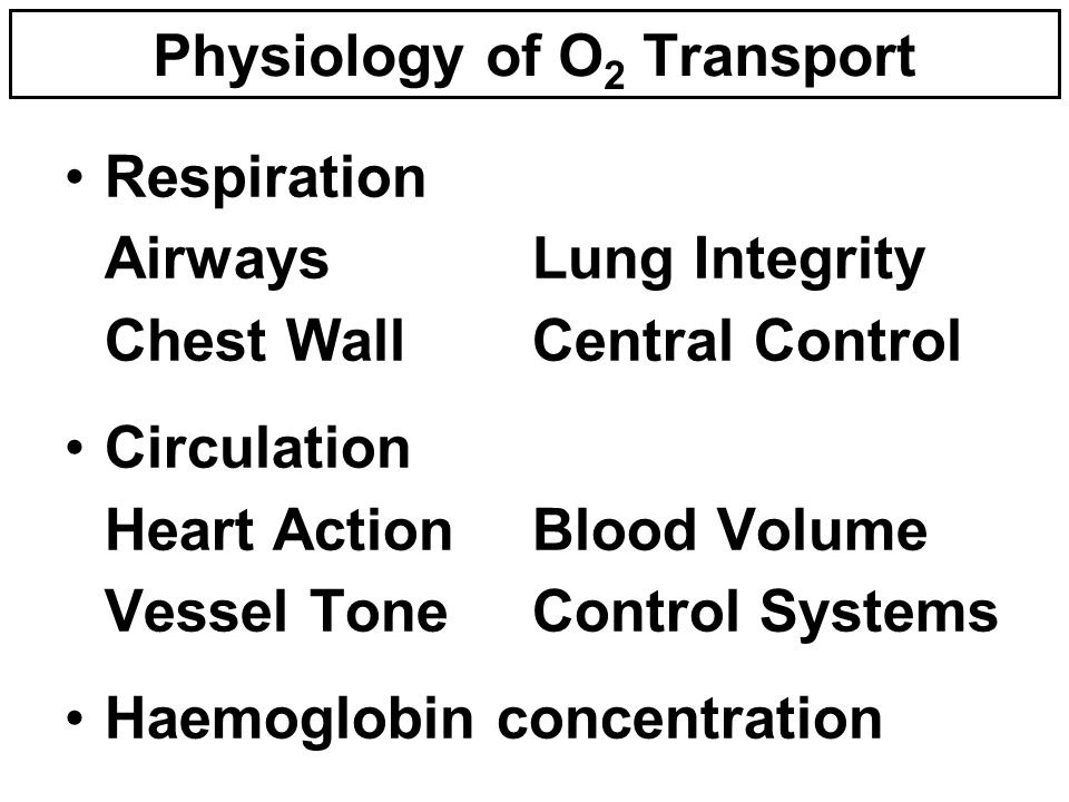 Physiology of O 2 Transport Respiration AirwaysLung Integrity Chest WallCentral Control Circulation Heart ActionBlood Volume Vessel ToneControl Systems Haemoglobin concentration