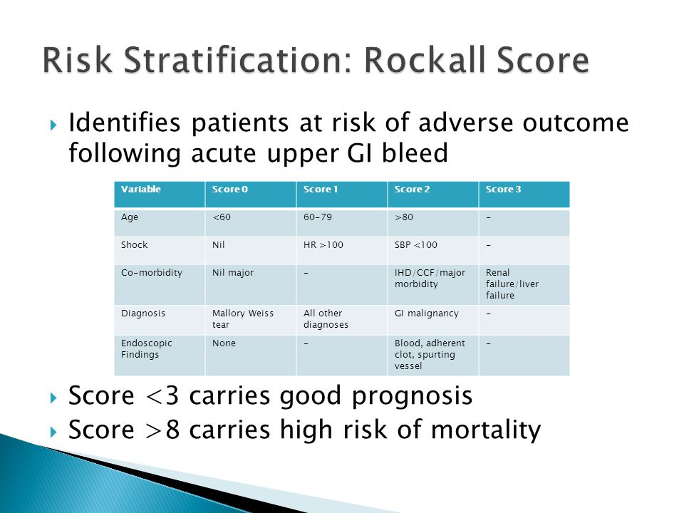  Identifies patients at risk of adverse outcome following acute upper GI bleed  Score <3 carries good prognosis  Score >8 carries high risk of mort