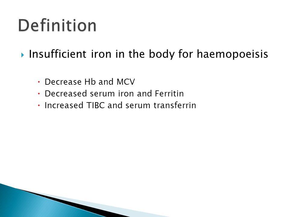  Insufficient iron in the body for haemopoeisis  Decrease Hb and MCV  Decreased serum iron and Ferritin  Increased TIBC and serum transferrin