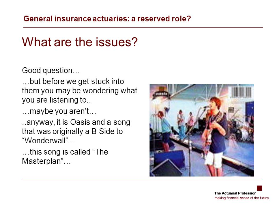 General insurance actuaries: a reserved role. What are the issues.