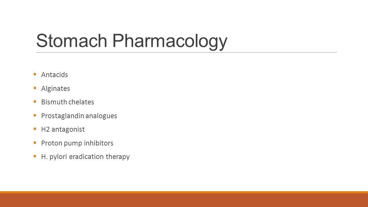 Stomach Pharmacology  Antacids  Alginates  Bismuth chelates  Prostaglandin analogues  H2 antagonist  Proton pump inhibitors  H.