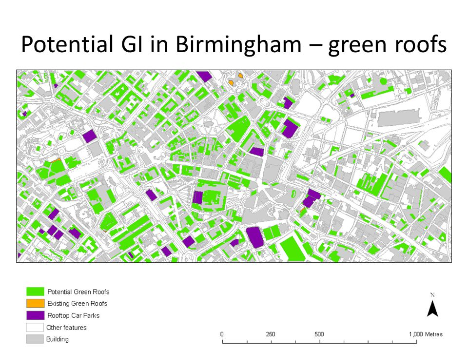Potential GI in Birmingham – green roofs