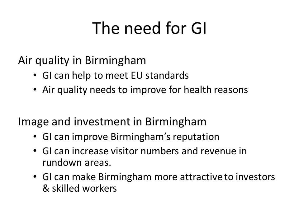 Existing GI in Birmingham city centre
