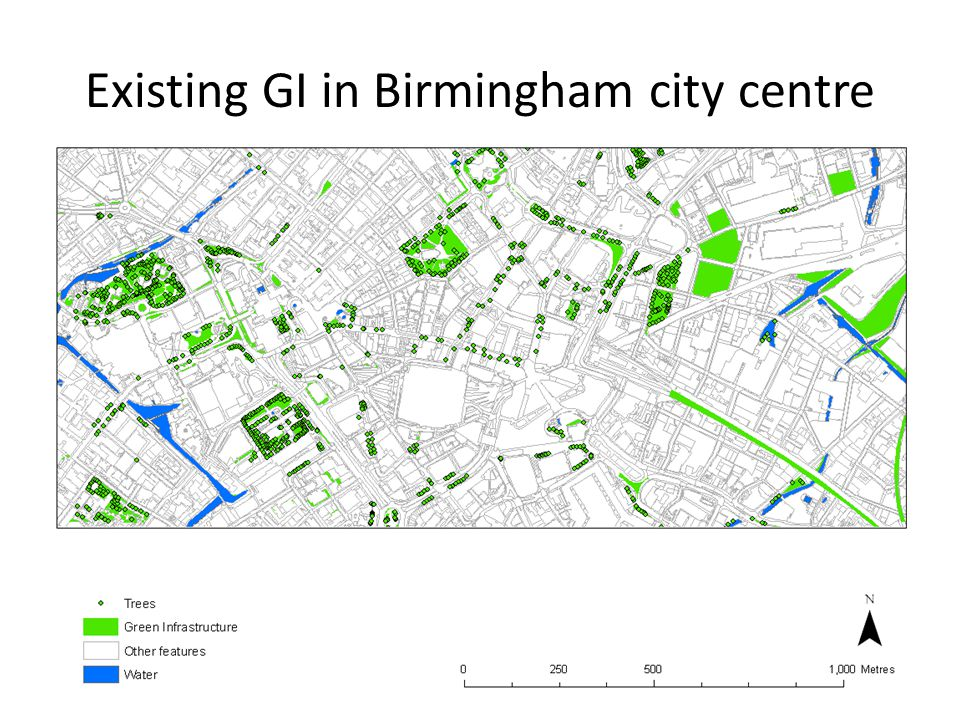 Benefits of Green Infrastructure Mitigates the Urban Heat Island effect Improves air quality Reduces surface runoff Improves health Reduces energy usage for cooling and heating Improves image and investment Improves ecology and biodiversity Provides economic savings