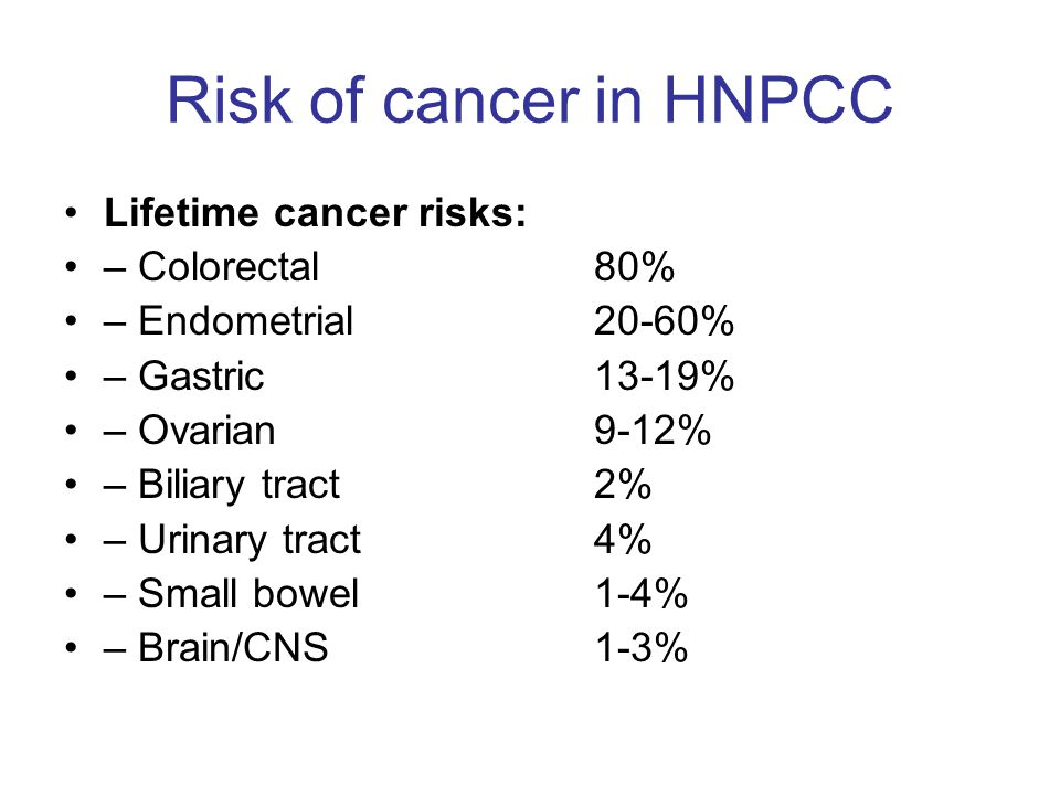 Risk of cancer in HNPCC Lifetime cancer risks: – Colorectal 80% – Endometrial 20-60% – Gastric 13-19% – Ovarian 9-12% – Biliary tract 2% – Urinary tract 4% – Small bowel 1-4% – Brain/CNS 1-3%