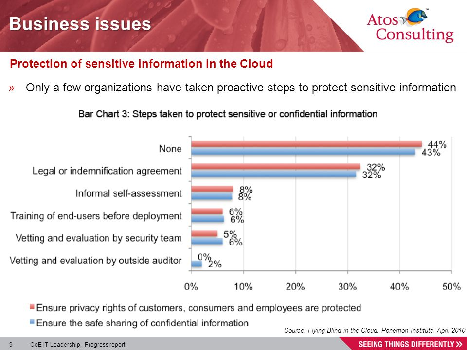 9 CoE IT Leadership.- Progress report Protection of sensitive information in the Cloud »Only a few organizations have taken proactive steps to protect sensitive information Source: Flying Blind in the Cloud, Ponemon Institute, April 2010 Business issues