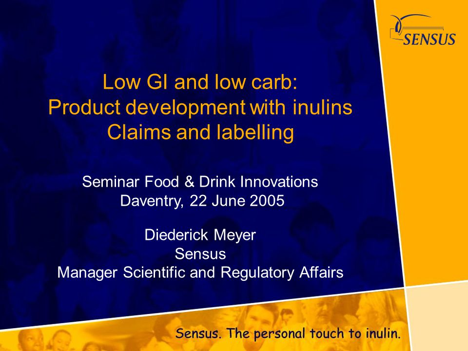 Low GI and low carb: Product development with inulins Claims and labelling Seminar Food & Drink Innovations Daventry, 22 June 2005 Diederick Meyer Sen