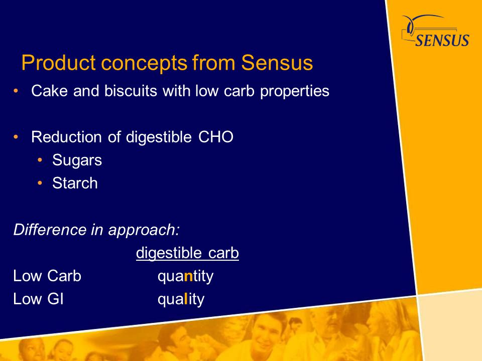 Product concepts from Sensus Cake and biscuits with low carb properties Reduction of digestible CHO Sugars Starch Difference in approach: digestible c
