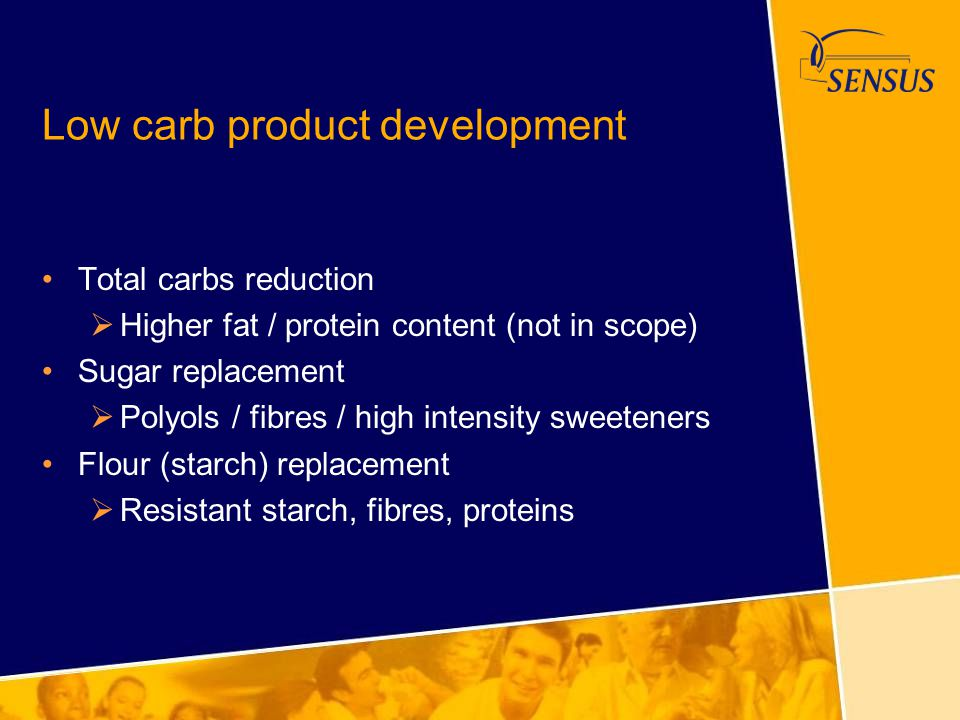 Low carb product development Total carbs reduction  Higher fat / protein content (not in scope) Sugar replacement  Polyols / fibres / high intensity
