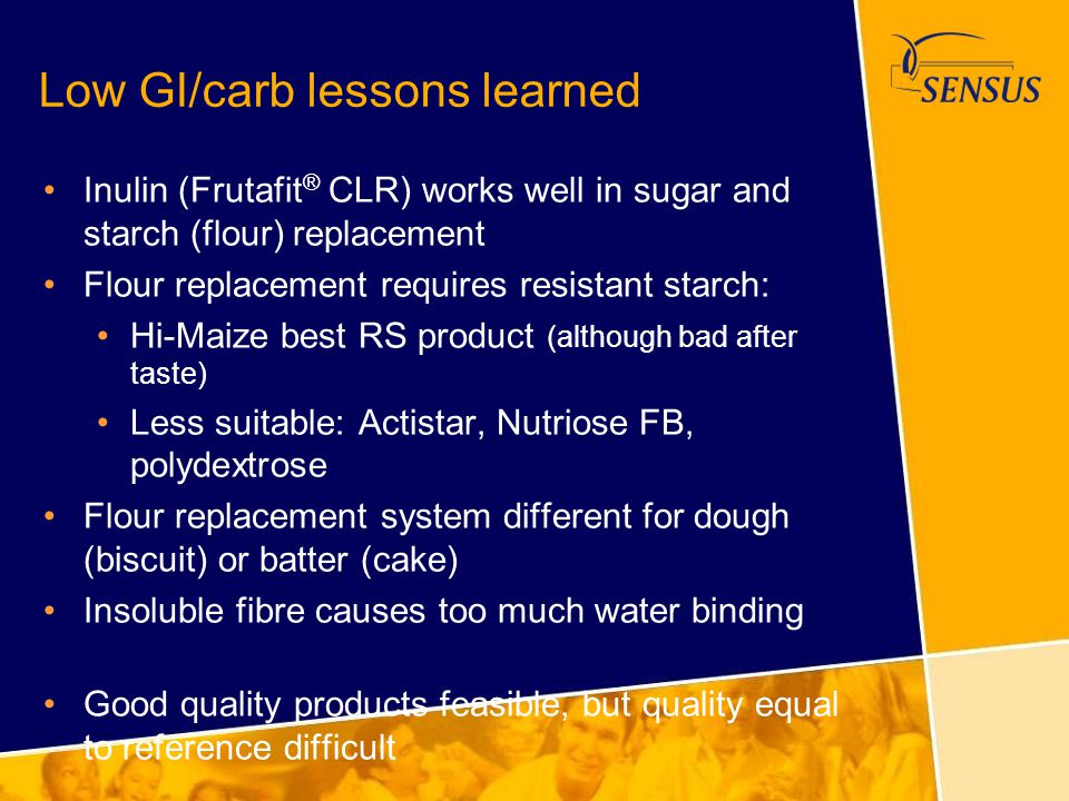 Low GI/carb lessons learned Inulin (Frutafit ® CLR) works well in sugar and starch (flour) replacement Flour replacement requires resistant starch: Hi