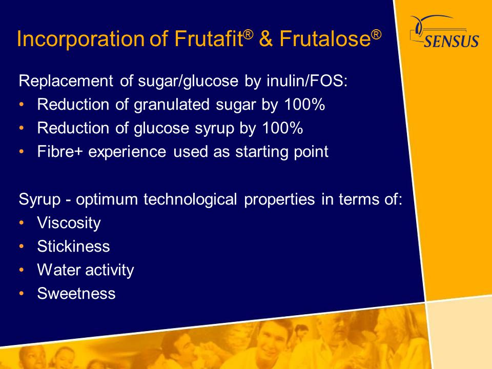 Incorporation of Frutafit ® & Frutalose ® Replacement of sugar/glucose by inulin/FOS: Reduction of granulated sugar by 100% Reduction of glucose syrup