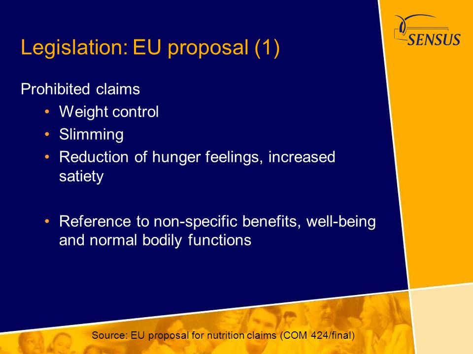 Legislation: EU proposal (1) Prohibited claims Weight control Slimming Reduction of hunger feelings, increased satiety Reference to non-specific benef